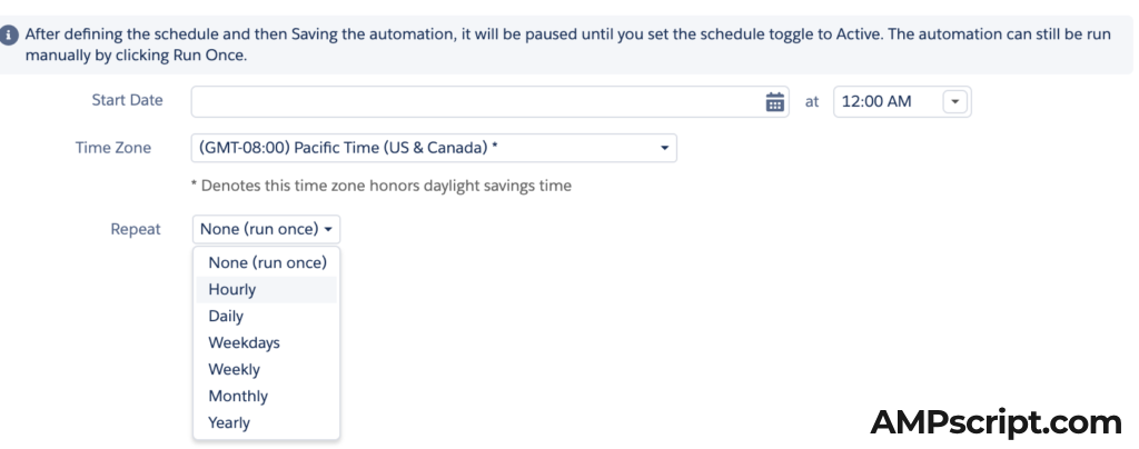 Scheduling hourly in Automation Studio